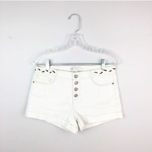 Free People white denim shorts hi rise button up